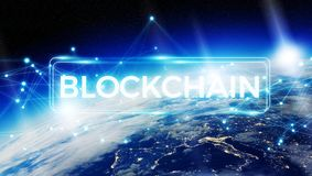 Blockchain on planet Earth 3D rendering. Blockchain and connections over the globe 3D rendering elements of this image furnished by NASA Royalty Free Stock Photos