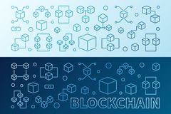 2 blockchain creative colored outline banners or backgrounds. 2 blockchain creative colored banners or backgrounds in thin line style. Block chain vector modern Stock Image