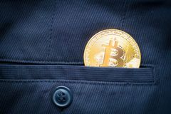 Blockchain cripto di simbolo della moneta di oro di logo di Bitcoin Immagine Stock Libera da Diritti