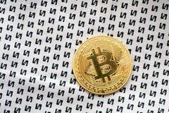 Blockchain cripto di simbolo della moneta di oro di logo di Bitcoin Fotografia Stock Libera da Diritti