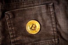 Blockchain cripto di simbolo della moneta di oro di logo di Bitcoin Fotografie Stock Libere da Diritti