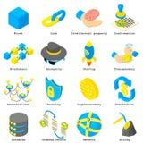 Blockchain crypto money icons set, isometric style. Blockchain crypto money icons set. Isometric illustration of 16 blockchain crypto money vector icons for web Royalty Free Illustration