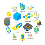 Blockchain crypto money icons set, isometric style. Blockchain crypto money icons set. Isometric illustration of 16 blockchain crypto money vector icons for web Stock Illustration