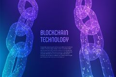 Blockchain Cryptocurrency Blockkettenkonzept wireframe 3D Kette mit digitalem Code Editable Schablone Illustratio auf Lager Stockbild