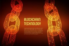 Blockchain Cryptocurrency Blockkettenkonzept wireframe 3D Kette mit digitalem Code Editable Schablone Illustratio auf Lager Stock Abbildung