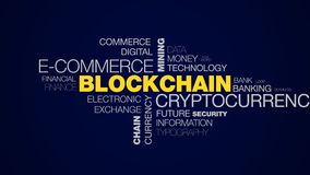 Blockchain cryptocurrency e-commerce mining bitcoin block economy ethereum business chain token animated word cloud. Background in uhd 4k 3840 2160 stock video footage