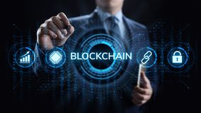 Blockchain Cryptocurrency FInancial technology concept on screen. royalty free stock photography