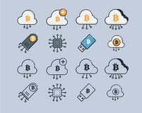 Mining Cryptocurrency Icons. Modern computer network technology sign set. Mining graphic symbols. Concept design stock illustration
