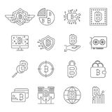 Blockchain, Cryptocurrency icons set. Bitcoin, mining, BTG,. Blockchain, Cryptocurrency icons set. Bitcoin, mining, BTG BTC blockchain coin Editable Stroke Stock Photography