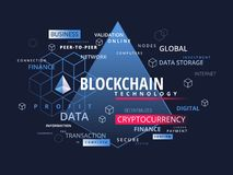 Blockchain cryptocurrency infographics - what is block chain tec. Hnology cryptography business concept Royalty Free Stock Photography