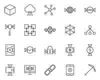 Blockchain, Cryptocurrency Line Icons Set. Vector Simple Minimal 96x96 Pictograms. Blockchain, Cryptocurrency Line Icon.  96x96 for Web Graphics and Apps Stock Photos