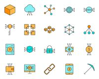 Blockchain, Cryptocurrency Line Icons Set. Vector Simple Minimal 96x96 Pictograms. Blockchain, Cryptocurrency Line Icon.  96x96 for Web Graphics and Apps Stock Photo