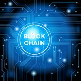 Blockchain cryptocurrency template. Blockchain network concept , Distributed ledger technology , Block chain text and computer connection. The file is saved in Royalty Free Stock Photo