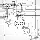 Blockchain cryptocurrency template. Blockchain network concept , Distributed ledger technology , Block chain text and computer connection. The file is saved in Stock Photography