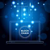 Blockchain cryptocurrency template. Blockchain network concept , Distributed ledger technology , Block chain text and computer connection. The file is saved in Stock Image