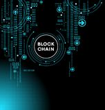 Blockchain cryptocurrency template. Blockchain network concept , Distributed ledger technology , Block chain text and computer connection. The file is saved in Stock Photo