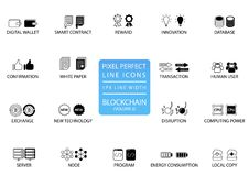 Blockchain and cryptocurrency thin line icon set. Pixel perfect icons with 1 px line width for optimal app and web usage.  royalty free illustration