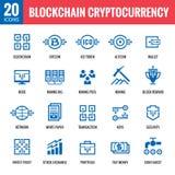 Blockchain cryptocurrency - 20 vektorsymboler Modern uppsättning för tecken för datornätteknologi Digital grafiska symboler Bitco Fotografering för Bildbyråer