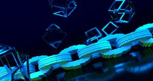 Blockchain cryptography concept. Blue chain on reflective surface. 3D Rendering stock illustration