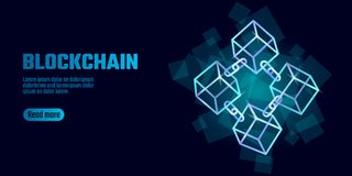 Blockchain cube chain symbol on square code big data flow information. Blue neon glowing modern trend. Cryptocurrency. Finance bitcoin business concept vector Stock Images