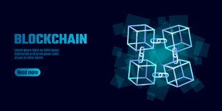 Blockchain cube chain symbol on square code big data flow information. Blue neon glowing modern trend. Cryptocurrency. Finance bitcoin business concept vector Stock Photo