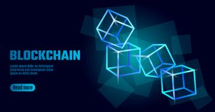 Blockchain cube chain symbol on square code big data flow information. Blue neon glowing modern trend. Cryptocurrency. Finance bitcoin business concept vector Stock Image
