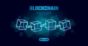 Blockchain cube chain symbol on square code big data flow information. Blue neon glowing modern trend. Cryptocurrency. Finance bitcoin business concept vector Royalty Free Stock Images