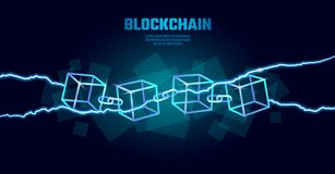 Blockchain cube chain symbol on square code big data flow information. Blue neon glowing modern trend. Cryptocurrency stock photos