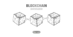 Blockchain cube chain symbol on square code big data flow information. Gray white neutral presentation style. Cryptocurrency finance bitcoin business vector vector illustration
