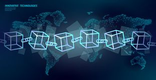 Blockchain cube chain symbol square code. Big data international flow. Blue neon glowing planet Earth map. Cryptocurrency finance bitcoin business concept stock illustration