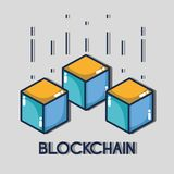 Blockchain cubes digital security technology. Vector illustration Royalty Free Stock Image