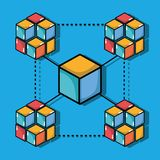 Blockchain cubes digital security technology. Vector illustration Royalty Free Stock Photography