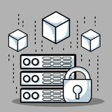 Blockchain cubes digital security technology. Vector illustration Royalty Free Stock Photos