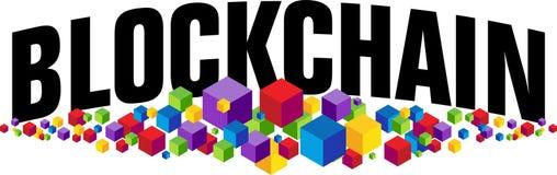 Blockchain cubica la bandera Foto de archivo