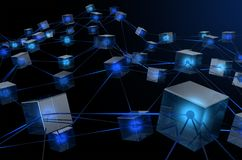 Blockchain Data Network. A concept showing a network of interconnected blocks of data depicting a cryptocurrency blockchain data on a dark background - 3D render Royalty Free Stock Image