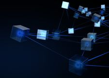 Blockchain Data Network. A concept showing a network of interconnected blocks of data depicting a cryptocurrency blockchain data on a dark background - 3D render Stock Images