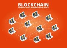 Blockchain data transfer isometric illustration bitcoin cryptocurrency technology vector illustration