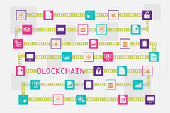 Blockchain and database concept. The block of data floating across with chain and wording Stock Image