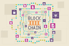 Blockchain and database concept. The block of data floating around Stock Photo