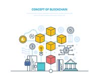 Blockchain, database with transactions, history financial operations, process user identification. Concept of blockchain. Database with transactions Stock Photos