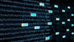 Blockchain-Datenübertragungs-Netz stock footage