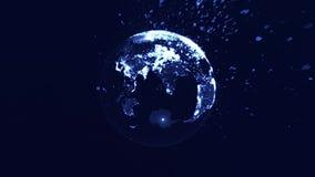 Blockchain de la explotación minera de la moneda o tecnología Crypto de la cadena de bloque de bitcoins asoma en el espacio digit