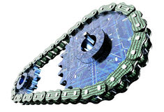 Blockchain dell'elaboratore digitale su bianco Immagine Stock