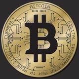 Blockchain di Bitcoin - concetto del portafoglio del bitcoin per il pagamento elettronico dei soldi virtuali mondiali Fotografia Stock Libera da Diritti