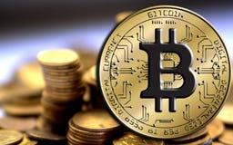 Blockchain di Bitcoin - concetto del portafoglio del bitcoin per il pagamento elettronico dei soldi virtuali mondiali Fotografia Stock