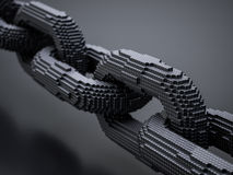 Blockchain digital chain. With blocks connection shape. Big data box node base concept. 3d rendering illustration Royalty Free Stock Images