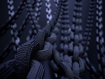 Blockchain digital chain. With blocks connection shape. Big data box node base concept. New technology concept. Security abstract background. 3d rendering Royalty Free Stock Images