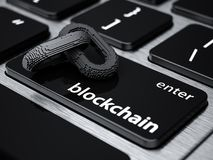Blockchain digital chain. With blocks connection shape. Big data box node base concept. New technology concept. Blockchain chain icon on computer laptop Stock Photo
