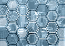Blockchain or digitization blue and grey background with hexagonal shaped pattern.  Royalty Free Stock Photos
