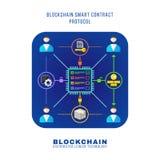 Blockchain distributed ledger technology illustration. Vector colorful flat design blockchain smart contract protocol rinciple explain scheme illustration blue Stock Image